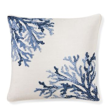 Coral Ombre Embroidered Pillow Cover, Blue