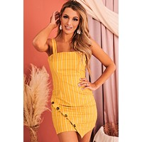 Send Me A Sign Striped Bodycon Dress (Mustard)