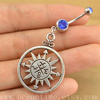 compass Belly Button Ring ,nautical Navel Jewelry, compass Belly Button jewelry, friendship belly button jewelry,anchor bellyring