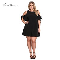 Summer Dress O-neck Solid Off-shoulder Mini Dress
