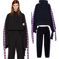 Champion Sleeve Cuff - Hooded Sweat Men Women Sweater Top - Ribbon Sport Pants Trousers Sweatpants