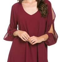 Cutout Sleeve Flowy Dress - Wine