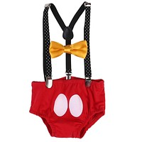 Newborn Infant New Arrival Baby Boy Girl Outfit Kids Bownot Pants Costume Birthday Gifts Toddler Girls Boys Clothes