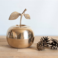 Brass Apple Trinket Box Container, Vintage Home Decor or Tablescape, 5 1/8 inches