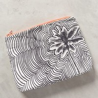 Rippled Floral Pouch by Samudra Black & White One Size Clutches