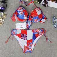 Womens Halter Flower Pattern Bikini Stylish Ethnic Swimwear Swimsuit for Summer