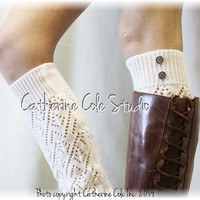 SIMPLY DIVINE in Dreamy Cream Leg warmers pointelle knit legwarmers boots socks womens knit leg warmers buttons Catherine Cole Studio LW28