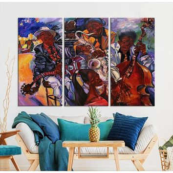Jazz Band Abstract Painting Large African Wall Art Canvas Print