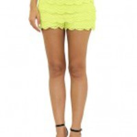 Neon Yellow Crochet Shorts