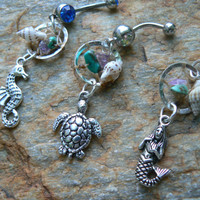 CHOOSE ONE beach dreamcatcher belly ring seahorse or mermaid or sea turtle  seashell in gypsy hippie morrocan boho and hipster style