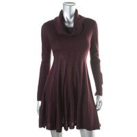 Calvin Klein Womens Petites Ribbed Knit Cowl Neck Sweaterdress