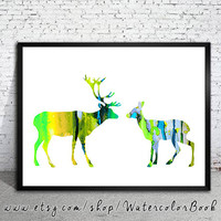 Deer 8 Watercolor Print, watercolor painting, watercolor art, Illustration, home decor wall art, deer art, watercolor animal, deer poster