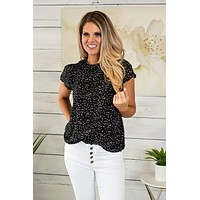 Cocktail Hour Flounce Smocked Blouse : Black