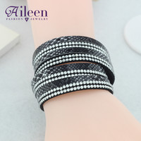 Multi Layer Faux Leather Bracelet Crystal  Rock Fashion Snake Skin Wrap Bracelets For Women Jewelry  Accessories
