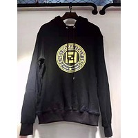 Fendi New fashion letter print couple hooded long sleeve sweater Black