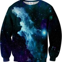SUGARPILLS Blue Galaxy Sweatshirt M Multicoloured
