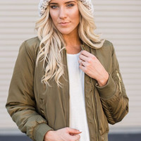 Military Inspired Bomber Jacket in Olive