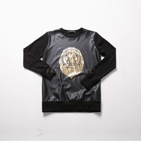 Mens XQUARE 23 Gold Lion Printed Leather Effect Sweatshirt at Fabrixquare