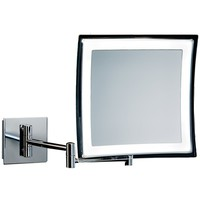 DWBA Square Wall Mounted Cosmetic Makeup 5x LED Light Magnifying Mirror. Chrome