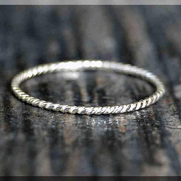 Ultra Thin Twisted Sterling Silver Stacking Ring, Dainty Sterling Ring, Thin Ring, Tiny Sterling Stacking Ring, Twist Stacking ring