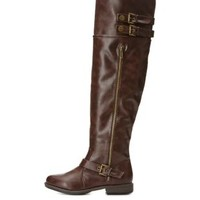 Bamboo Buckled Over-the-Knee Riding Boots by Charlotte Russe - Brown
