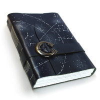 Handmade Journal Starry Night Leather Journal - Leather Notebook - Handbound Diary