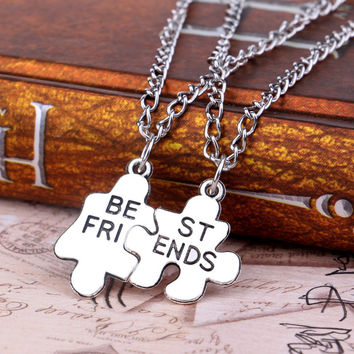 2pc Silver Best Friend Puzzle Necklace For Women Fine Jewelry Friendship Necklace SM6