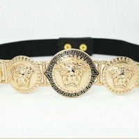 DCCK Versace Metal Medusa Beauty Elasticated Belt Lion Head Belt