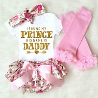 4Pcs Newborn Baby Girl Clothes 2018 Summer Short Sleeve Cotton Romper Floral Shorts Leg Warmer + Headband Prince Daddy Outfits