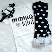 Baby Girl Clothes, Mommy and Me, Mommy's Girl, THE ORIGINAL Mama's Mini™, Leg Warmer Set, Silver Glitter Bodysuit, New Baby Gift