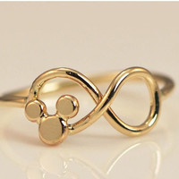 10K Yellow Gold Mickey Mouse Infinity Ring