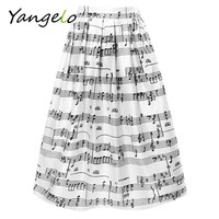 High Waist Print Music Notes Pleated Skater Flared Skirts