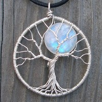 Moon Tree Sterling Silver and Moonstone Pendant by ethora