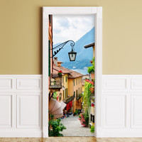 Sticker for Door / Wall / Fridge - Italian Street. Peel & Stick Removable Mural, Skin, Cover, Wrap, Decal, Poster