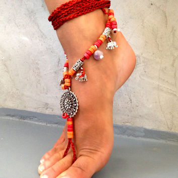 PROMO SALE Barefoot Sandals Barefoot Beach Jewelry Seashells and gemstones Hippie Sandals Foot Jewelry Toe Thong