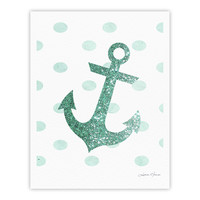 "Nika Martinez ""Glitter Anchor in Mint"" Teal Fine Art Gallery Print"
