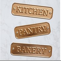 Set of 3 Copper Colored Kitchen Signs - Pantry Bakery Kitchen