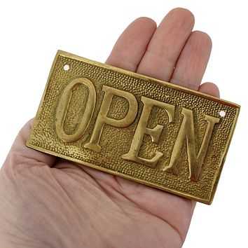 Vintage OPEN CLOSED Sign Cast Brass Reversible NOS 1960s