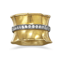 14 Karat Gold Plated Ring with Cubic Zirconias