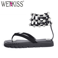 WETKISS Brand Design Crystal Ankle Wrap Sandals Women Genuine Leather Suede Flip Flops Summer Fashion Shoes Woman Flat Sandals
