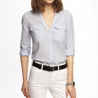 LINEN-COTTON RELAXED TWO POCKET SHIRT