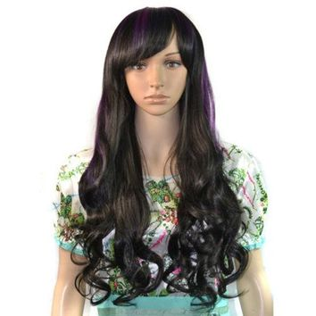 70cm Purple Dyed Tilted Frisette Long Curled Hair Cap Anime Cosplay Wig