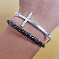 adjustable cross bracelet leather bracelet ropes bracelet women bracelet men bracelet made of silver cross white ropes and leather sh-124