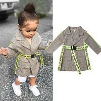 England Style Kids Baby Girl Blazer Coats Autumn Winter Clothes Long Sleeve Lapel Long Jackets Windbreaker with Letter Belt 0-5Y