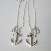 2 Anchor Initial, Best Friends Necklaces.