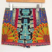 Multi Color Tribal Print Shorts