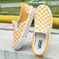 VANS black and white checkerboard one pedal lazy shoes casual shoes F/I-A36H-MY