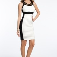 Pleated Jersey Two Tone Dress