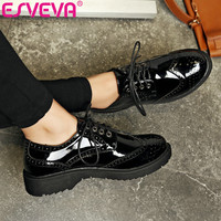 ESVEVA 2017 British 3 Type Lace Up Fashion Shoes Square Med Heel Women Pumps Round Toe PU Patent Leather Woman Shoes Size 34-39