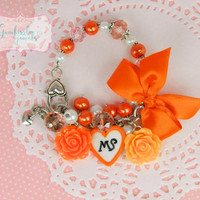 orange awareness bracelet, MS bracelet, MS awareness, multiple sclerosis, awareness jewelry, awareness charms